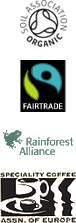 Organic, Fairtrade, Rainforest Alliance, Speciality Coffee Association of Europe